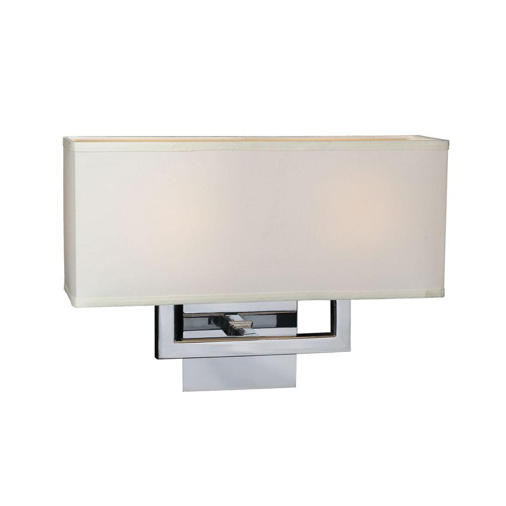 PLC Lighting 2-Light Polished Chrome Sconce with Off-White Fabric Shade
