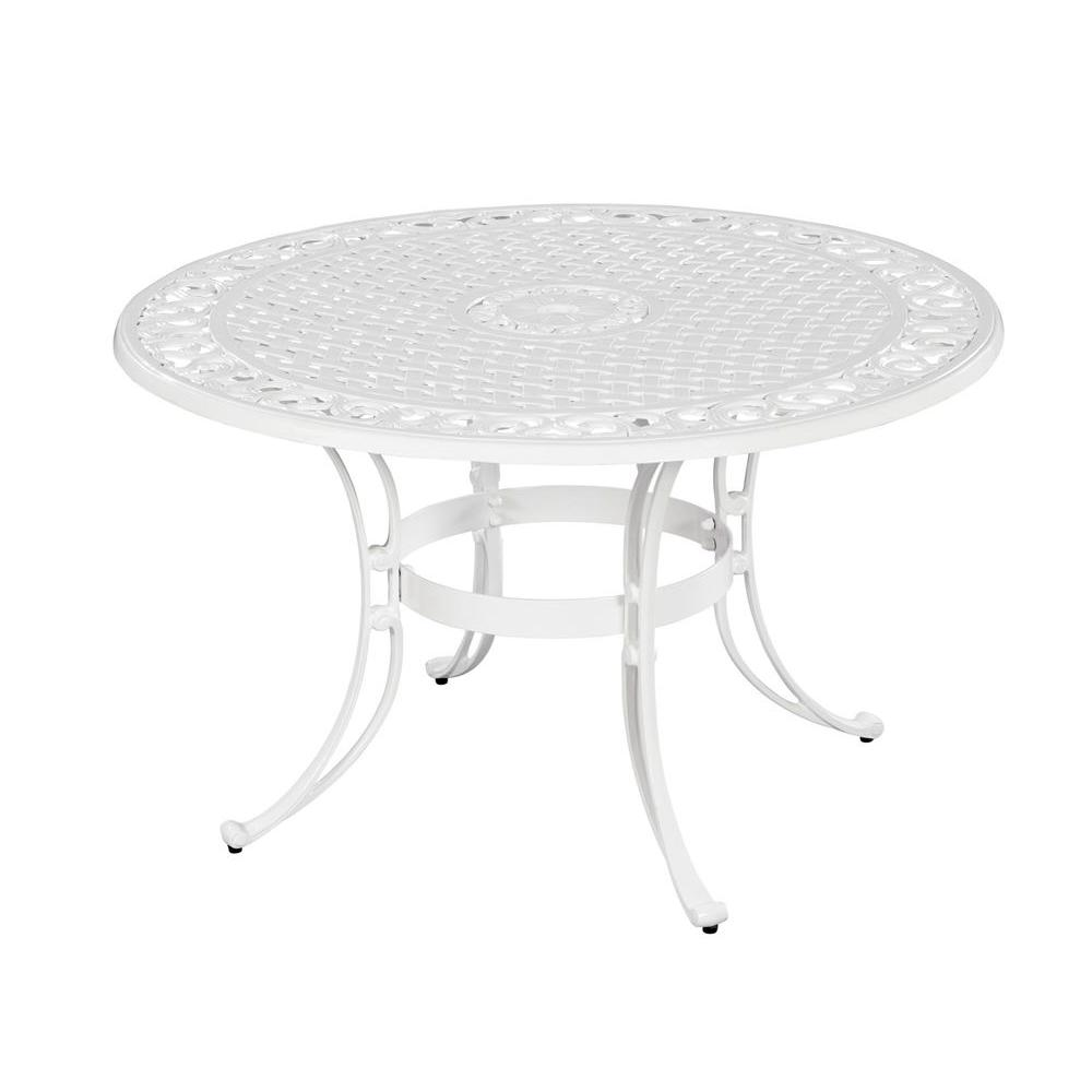 Home styles biscayne 48 in white round patio dining table for White round dining table
