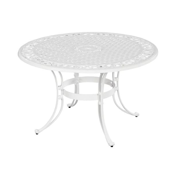 Homestyles Biscayne 48 In White Round Patio Dining Table 5552 32 The Home Depot
