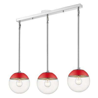 Dixon 3-Light Chrome Globe Pendant with Glass Shade