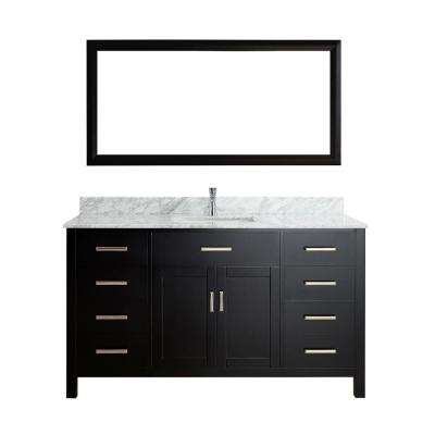 Kalize 60 in. W x 22 in. D Vanity in Espresso with Marble Vanity Top in Carrara White with Basin and Mirror