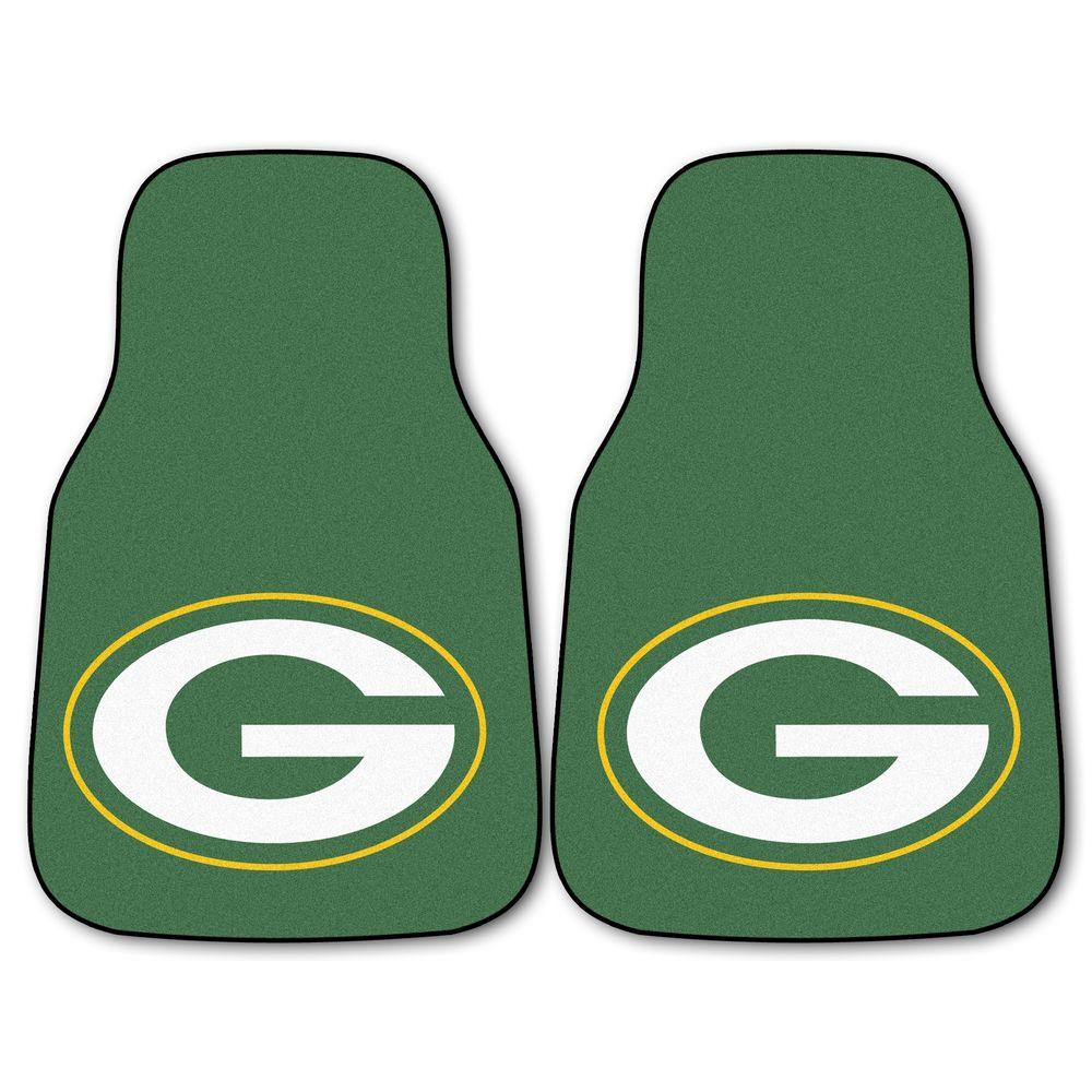 Green Bay Packers 18 in. x 27 in. 2-Piece Carpeted Car