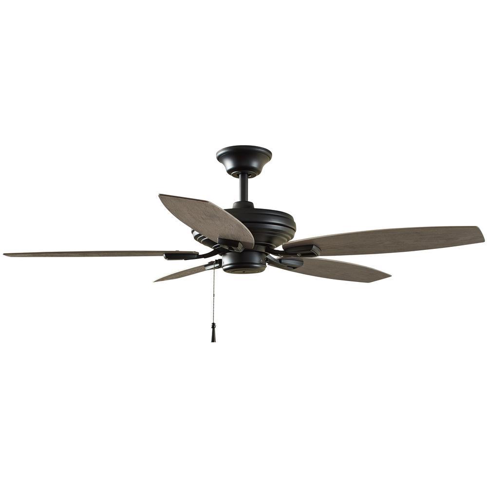 Hampton Bay North Pond 52 In Indoor Outdoor Matte Black Ceiling Fan