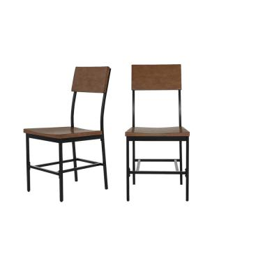 Porter Black Metal Dining Chair with Haze Oak Finish Wood Seat (Set of 2) (16.93 in. W x 36 in. H)