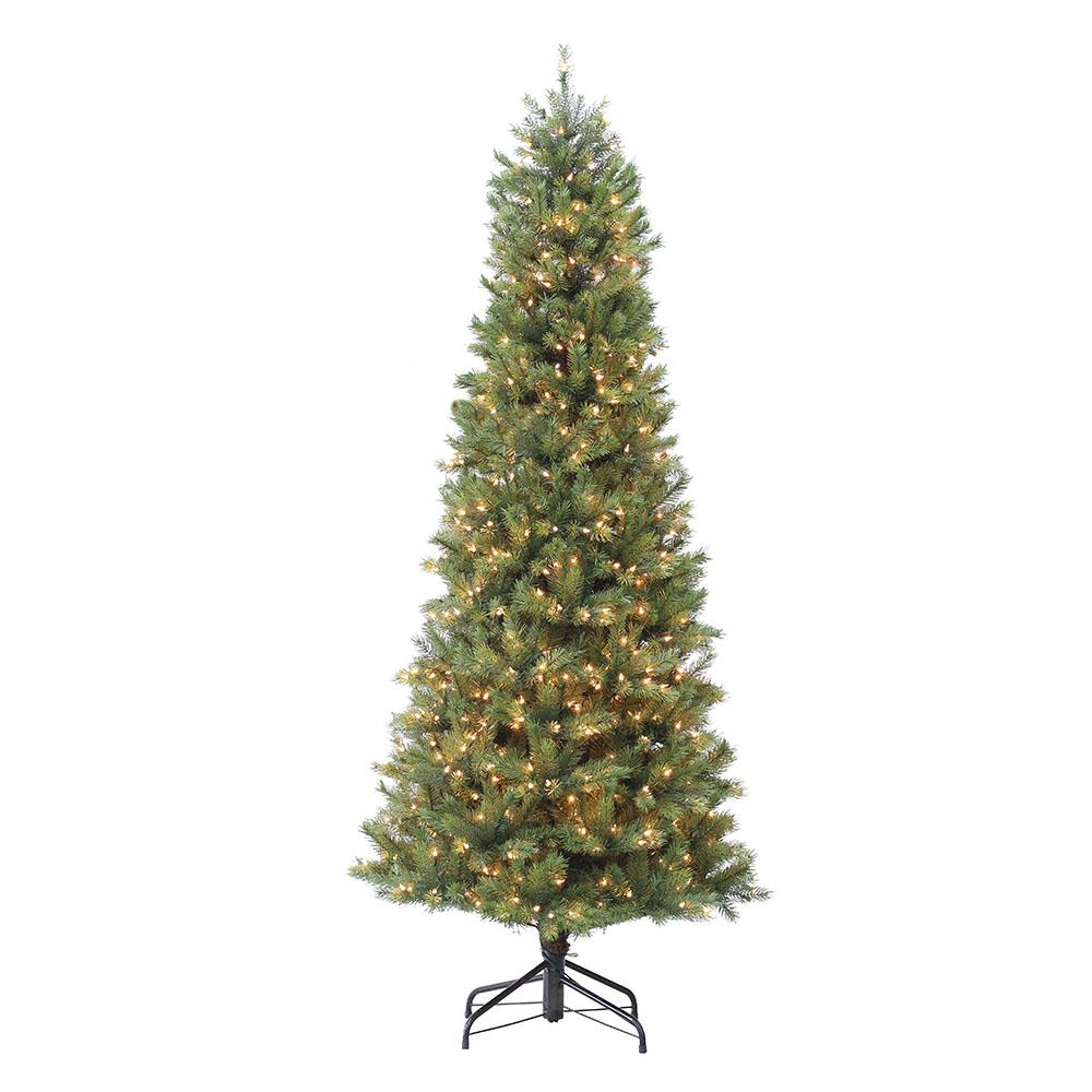 Puleo International 7.5 ft. Pre-Lit Slim Madison Fir ...