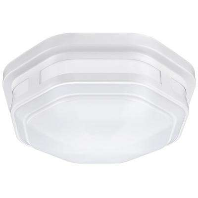 11 in. White Octagon Integrated LED Outdoor Flush Mount with Color Selectable Feature