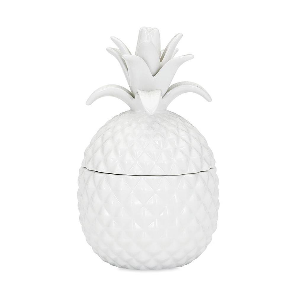 White Ceramic Lidded Pineapple