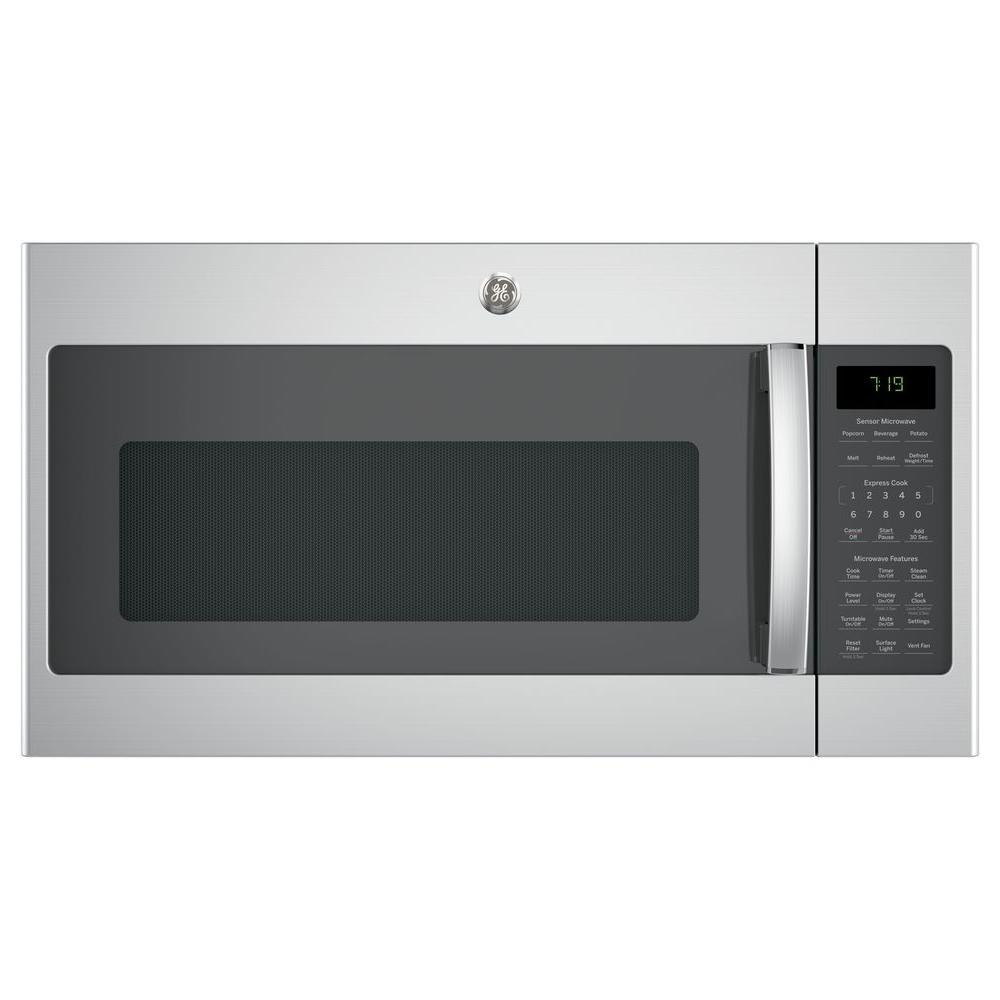 1.9 cu. ft. Over the Range Microwave in Stainless Steel (Silver) with Sensor Cooking Your GE 1.9 cu. ft. Over the Range Sensor Microwave Oven in Stainless Steel has 1000-Watt of power. Four-speed with boost 400-CFM venting fan system quickly removes smoke, steam and odors from the cooktop to keep kitchen air fresh and clean. Weight and time defrost lets you simply enter the weight of the food, and the oven automatically sets the optimal defrosting time and power level or set your desired time for defrosting. Easy clean with steam lets you clean messes inside the microwave and is easy to wipe away after steam loosens food grime. GE appliances provide up-to-date technology and exceptional quality to simplify the way you live. With a timeless appearance, this family of appliances is ideal for your family. And, coming from one of the most trusted names in America, you know that this entire selection of appliances is as advanced as it is practical.