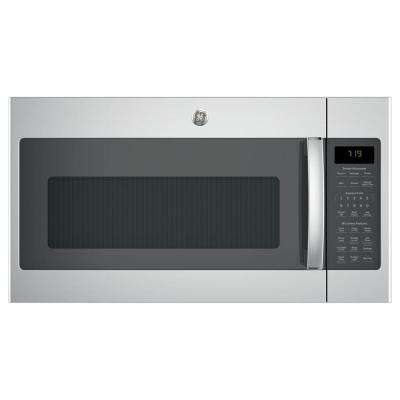 '1.9 cu. ft. Over-the-Range Sensor Microwave Oven in Stainless Steel' from the web at 'https://images.homedepot-static.com/productImages/56d53cd8-036d-4245-a6a1-661914504949/svn/stainless-steel-ge-over-the-range-microwaves-jvm7195skss-64_400_compressed.jpg'