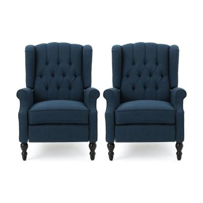 Walter Brown,Navy Blue and Dark Brown Wingback Tufted Recliner (Set of 2)
