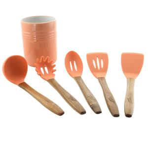 Gibson Home Plaza Cafe 5-Piece Kitchen Tools with Coral ...