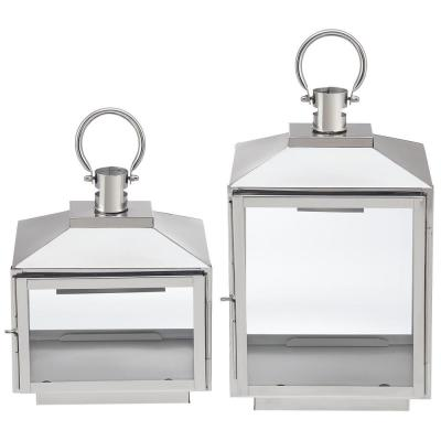 Home Decorators Collection Silver Stainless Steel Candle Hanging or Tabletop Lantern (Set of 2)