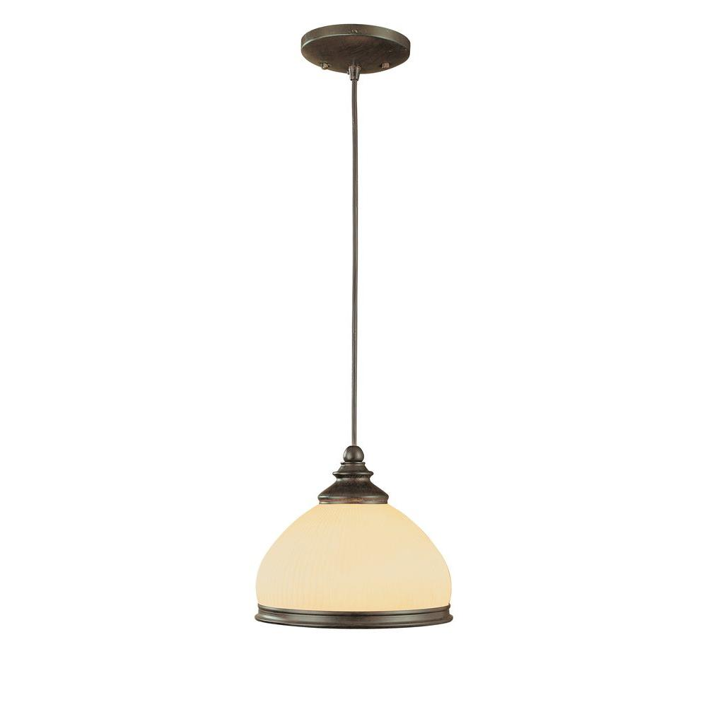 Hampton Bay 1-Light Iron Oxide Hanging Large Pendant