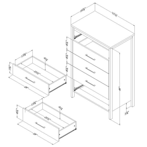 South Shore Gravity 5 Drawer Ebony Chest 3577035 The Home Depot