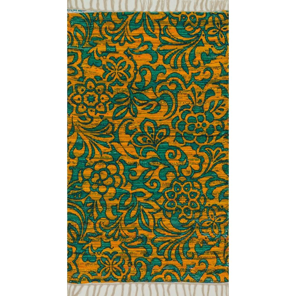 Loloi Rugs Aria Lifestyle Collection Lime/Teal 3 ft. 6 in. x 5 ft. 6 in. Area Rug