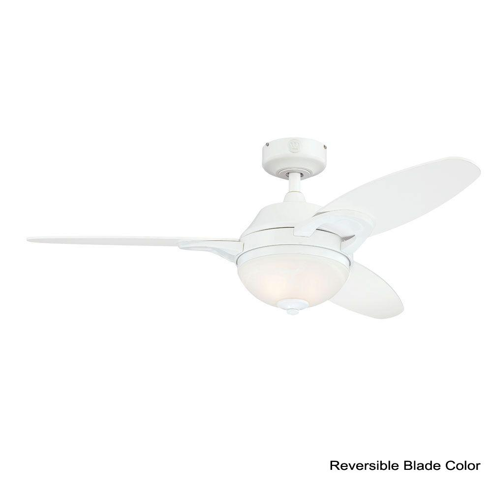 Westinghouse Lighting 7869100 Arcadia Two-Light 46-Inch Reversible Three-Blade Indoor Ceiling Fan White with Frosted White Alabaster Glass
