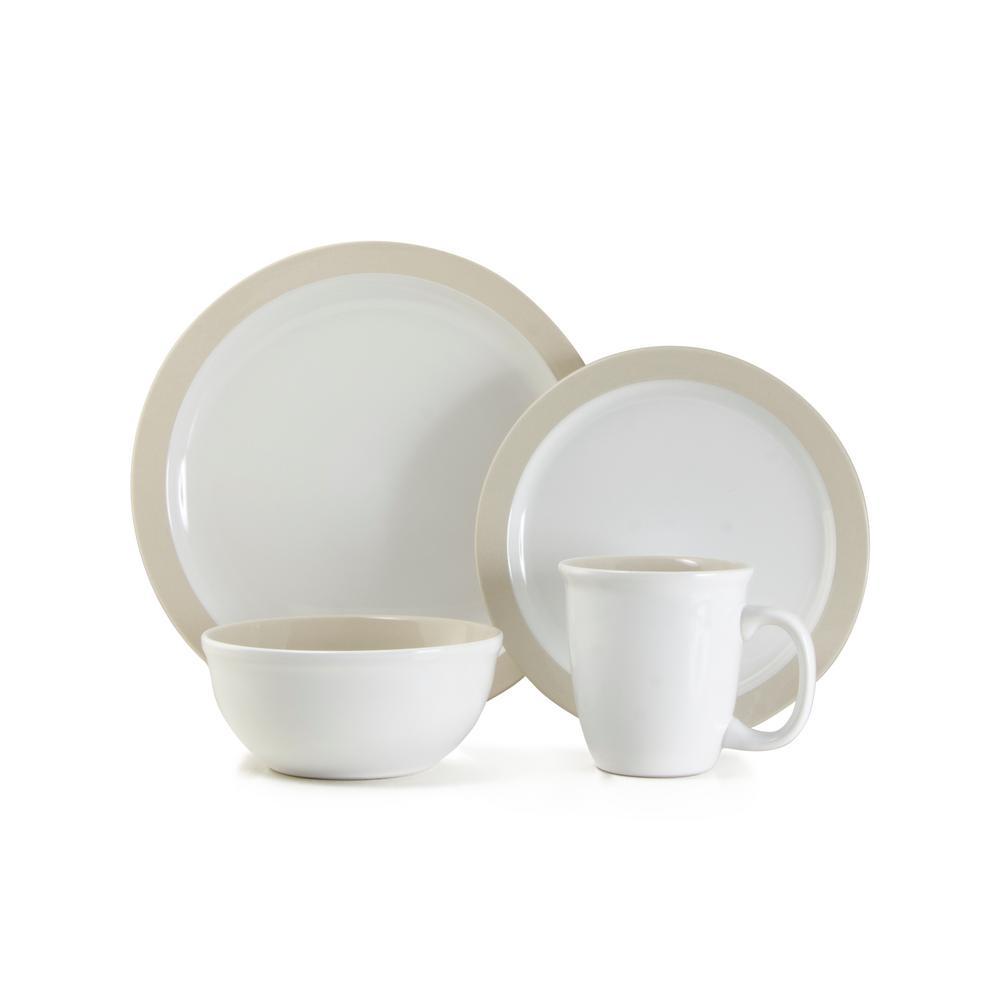Urban 16-Piece Casual Off White Ceramic Dinnerware Set (Service for 4)