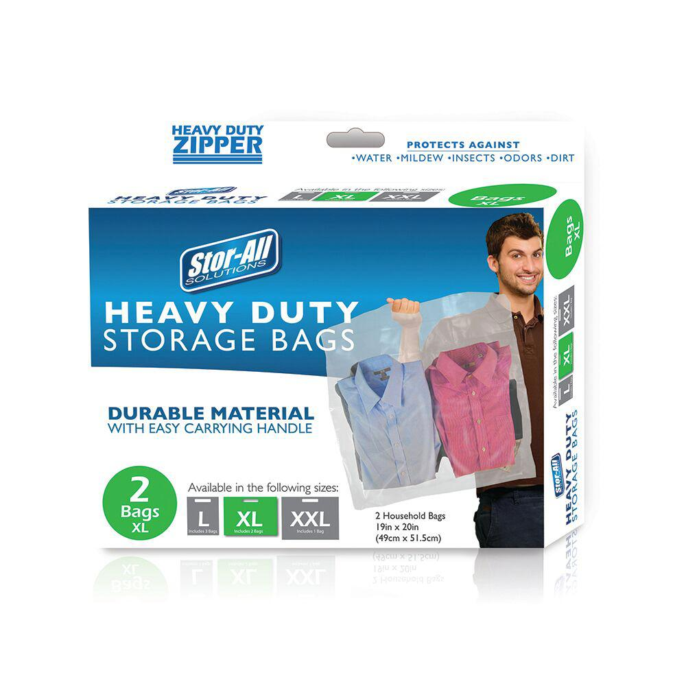 Missry Associates X-Large Heavy Duty Zipper Bag (6-Pack), Clear Keep water, mildew, insects, odors and dirt away from your clothing and valuables with Store-All's 2-Pack of Heavy Duty, Zipper-Close Storage Bags. These feature a sturdy handle that makes carrying them easy. Size X-Large. Color: Clear.
