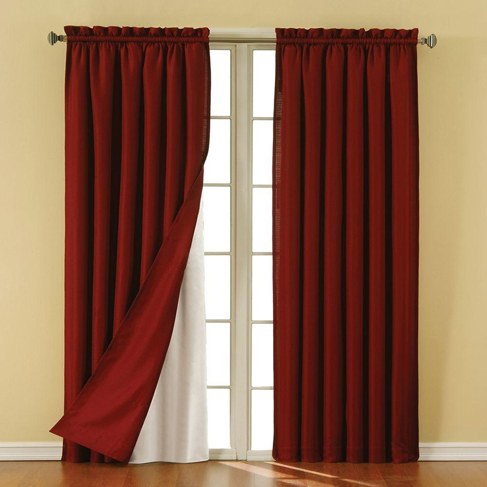 Eclipse Thermaliner White Blackout Energy Saving Curtain Liners, 92 in. Length (1 Pair)