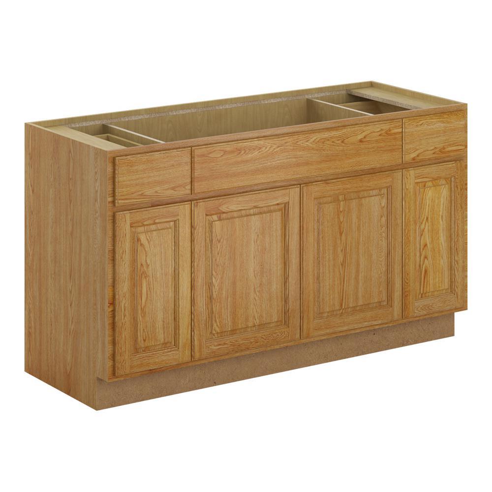 Madison Assembled 60x34.5x24 in. Sink Base Cabinet in Medium Oak