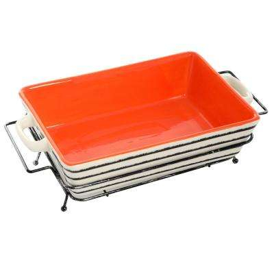 Naivet Rectangular Ceramic Bakeware with Metal Rack