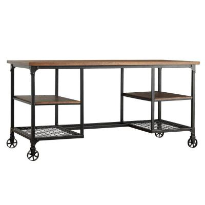 60 in. Rectangular Distressed Ash Writing Desk with Wheels