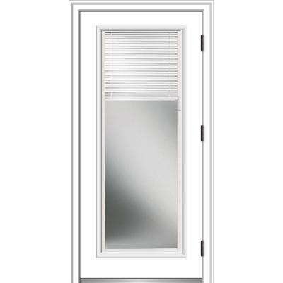 36 in. x 80 in. Internal Blinds Left-Hand Outswing Full Lite Clear Low-E Primed Steel Prehung Front Door with Brickmould