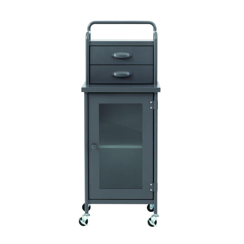 Home Decorators Collection Steel 2-Drawer Cart in Grey
