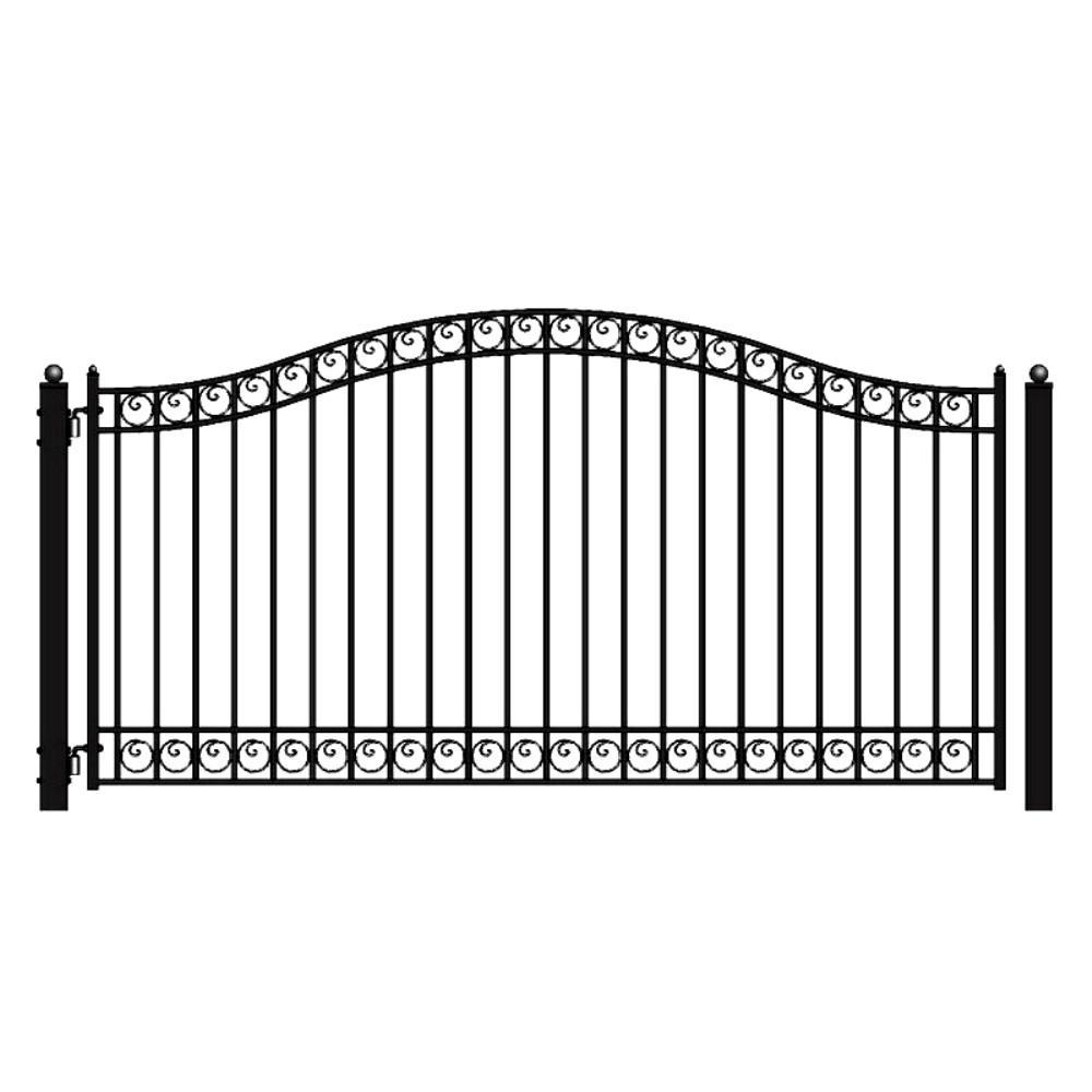 Dublin Style 18 ft. x 6 ft. Black Steel Single Swing Driveway Fence Gate