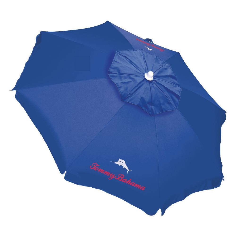 32efe0faaf0b Tommy Bahama 6 ft. Steel Pole Tilt Beach Umbrella in Blue with Sand Anchor  and Carry Bay