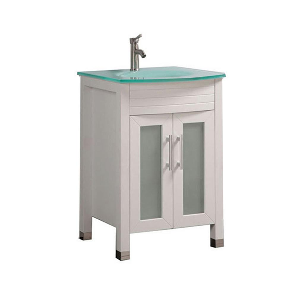 MTD Vanities Fort 24 in. W x 21 in. D x 36 in. H Bath Vanity in White with Frosted Glass Vanity Top  with Glass Basin