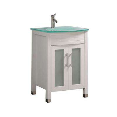 Fort 24 in. W x 21 in. D x 36 in. H Bath Vanity in White with Frosted Glass Vanity Top  with Glass Basin
