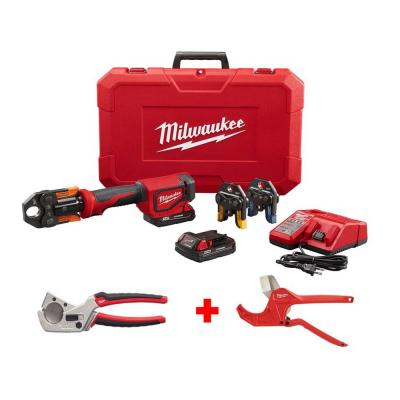 M18 18-Volt Lithium-Ion Cordless Short Throw PEX Press Tool Kit with ProPEX/Tubing Cutter and Ratcheting Pipe Cutter