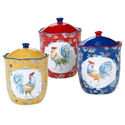Morning Bloom 3-Piece Seasonal Multicolored Earthenware 96, 72, 48 oz. Canister Set