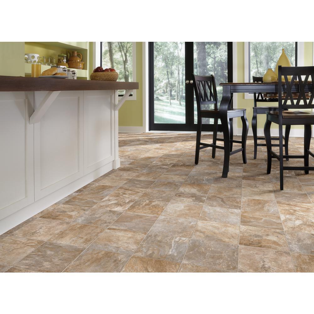 Pro Basic Refined Slate Neutral Stone Residential Vinyl Sheet Flooring 12ft. Wide x Cut to Length
