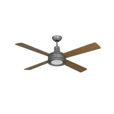 Quantum II 52 in. Brushed Nickel BN-1 Ceiling Fan and LED Light with Remote Control