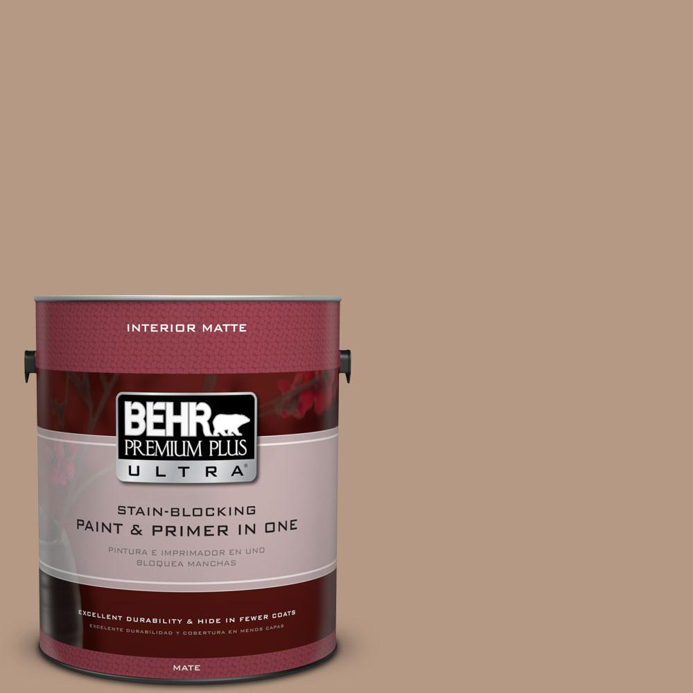 1 gal. #250F-4 Stone Brown Matte Interior Paint and Primer in