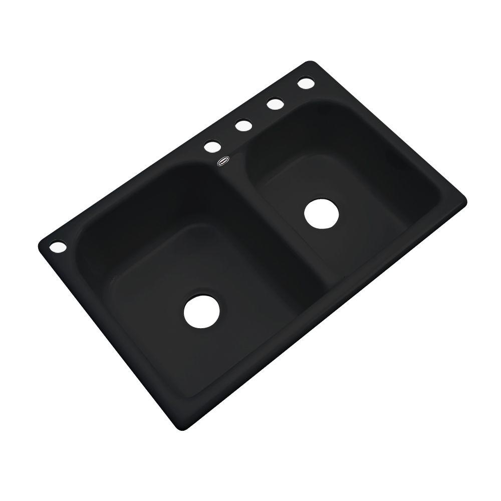 Thermocast Cambridge Drop-In Acrylic 33 in. 5-Hole Double Bowl Kitchen Sink in Black