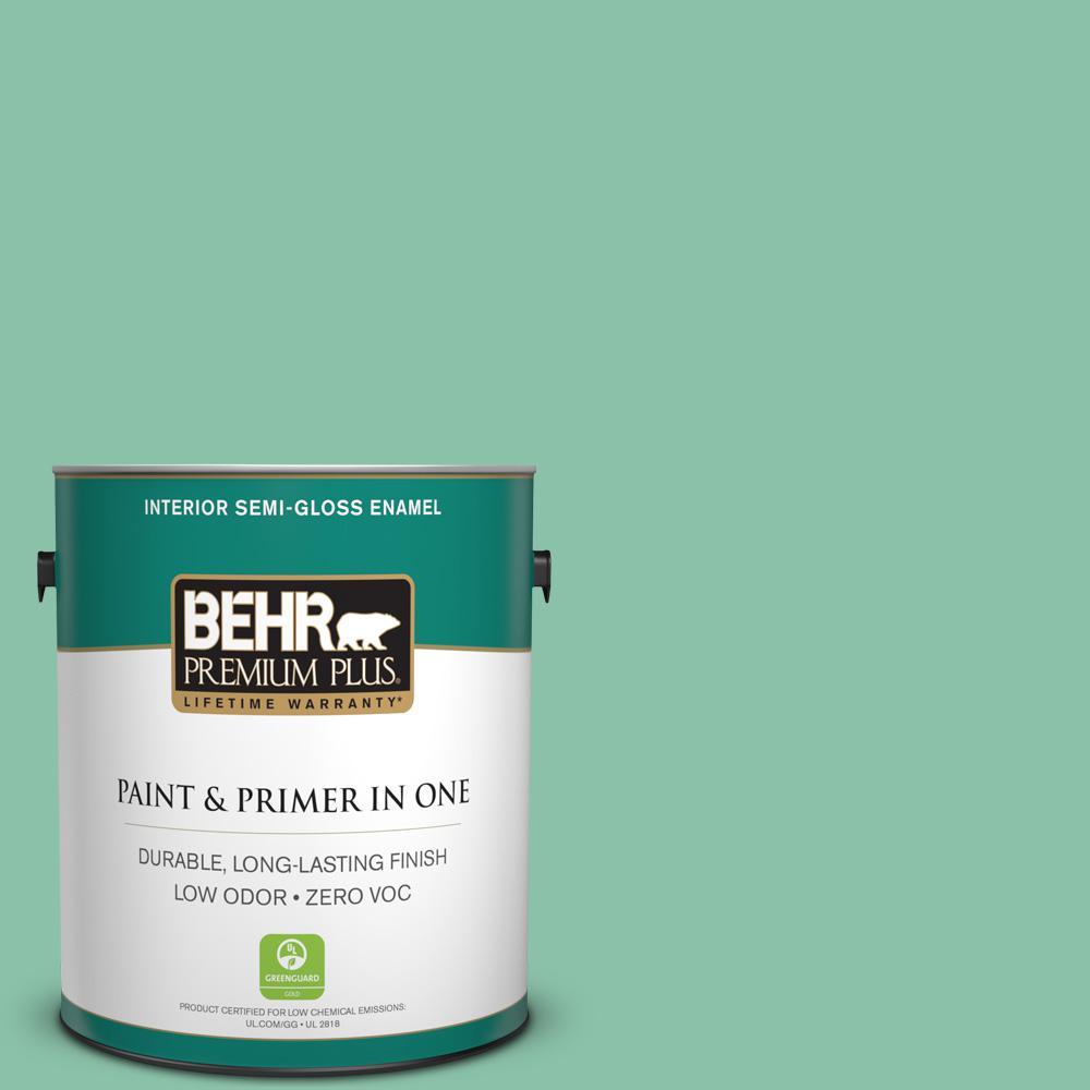 BEHR Premium Plus Home Decorators Collection 1-gal. #HDC-WR14-8 Spearmint Frosting Semi-Gloss Enamel Interior Paint