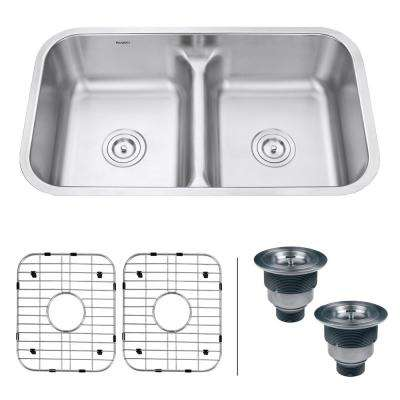 Undermount Stainless Steel 32 in. 16-Gauge 50/50 Low Divide Double Bowl Kitchen Sink