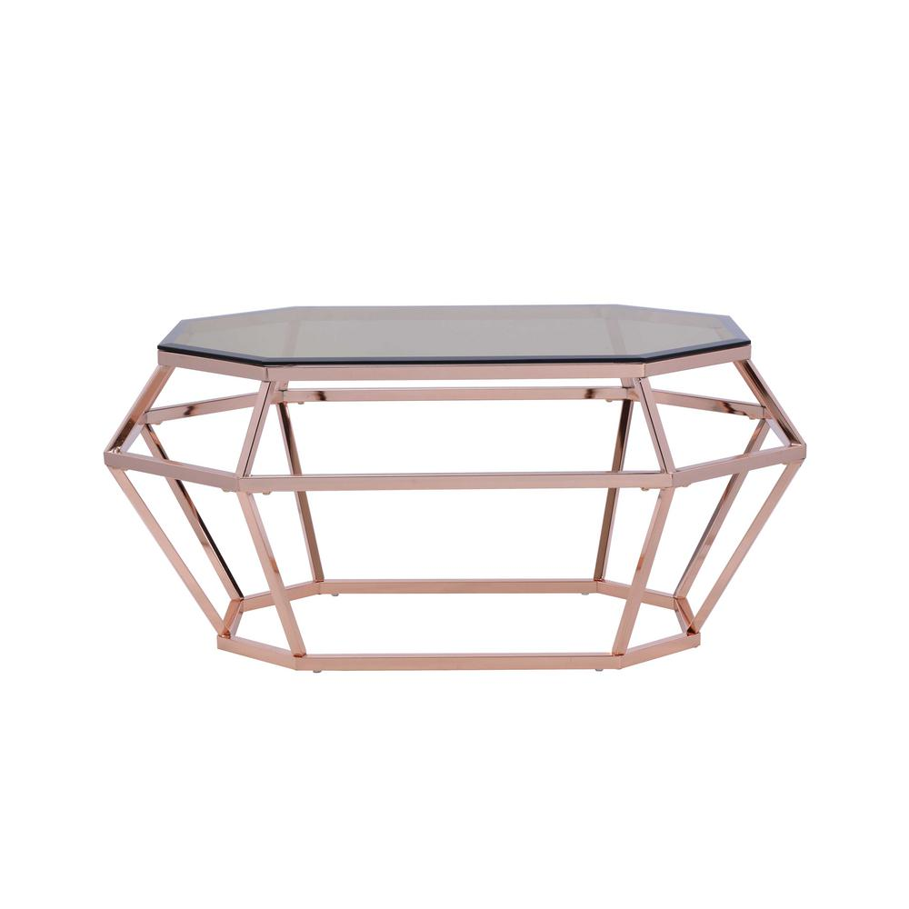 Acme Furniture Clifton Smoky Gl And Rose Gold Coffee Table