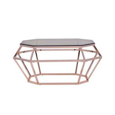 Clifton Smoky Glass and Rose Gold Coffee Table