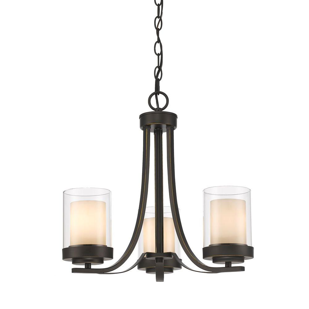 Filament design wesson 3 light dark bronze modern rustic chandelier with clear outside matte opal inside glass shades
