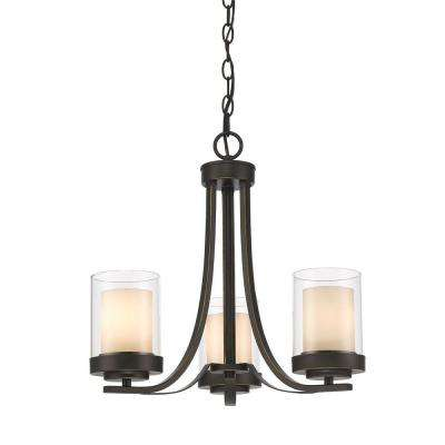 Wesson 3-Light Dark Bronze Modern Rustic Chandelier with Clear Outside, Matte Opal Inside Glass Shades