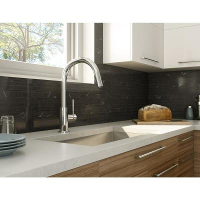 Onyxia Black 11.89 in. x 9.69 in. x 5mm Stone Peel and Stick Wall Mosaic Tile (9.6 sq. ft. / case)