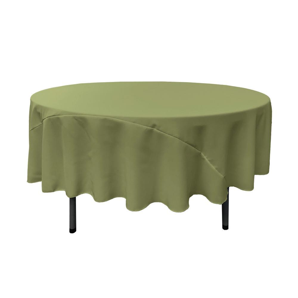 Wonderful LA Linen 90 In. Round Dark Sage Polyester Poplin Tablecloth