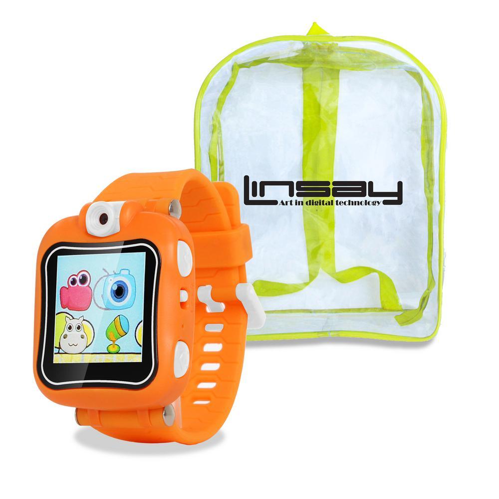 1.5 in. Smart Watch Kids Cam Selfie Orange with Bag Pack