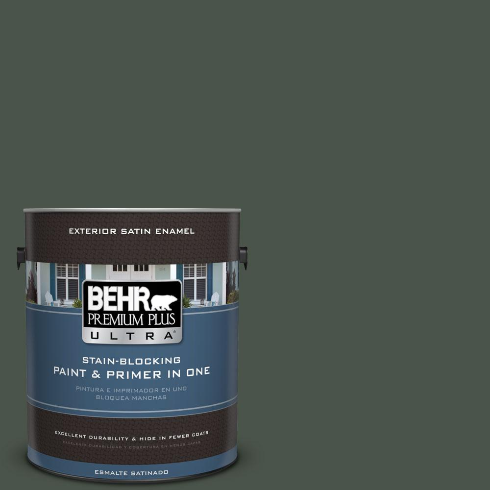 BEHR Premium Plus Ultra 1-gal. #PMD-66 Deep Evergreen Satin Enamel Exterior Paint