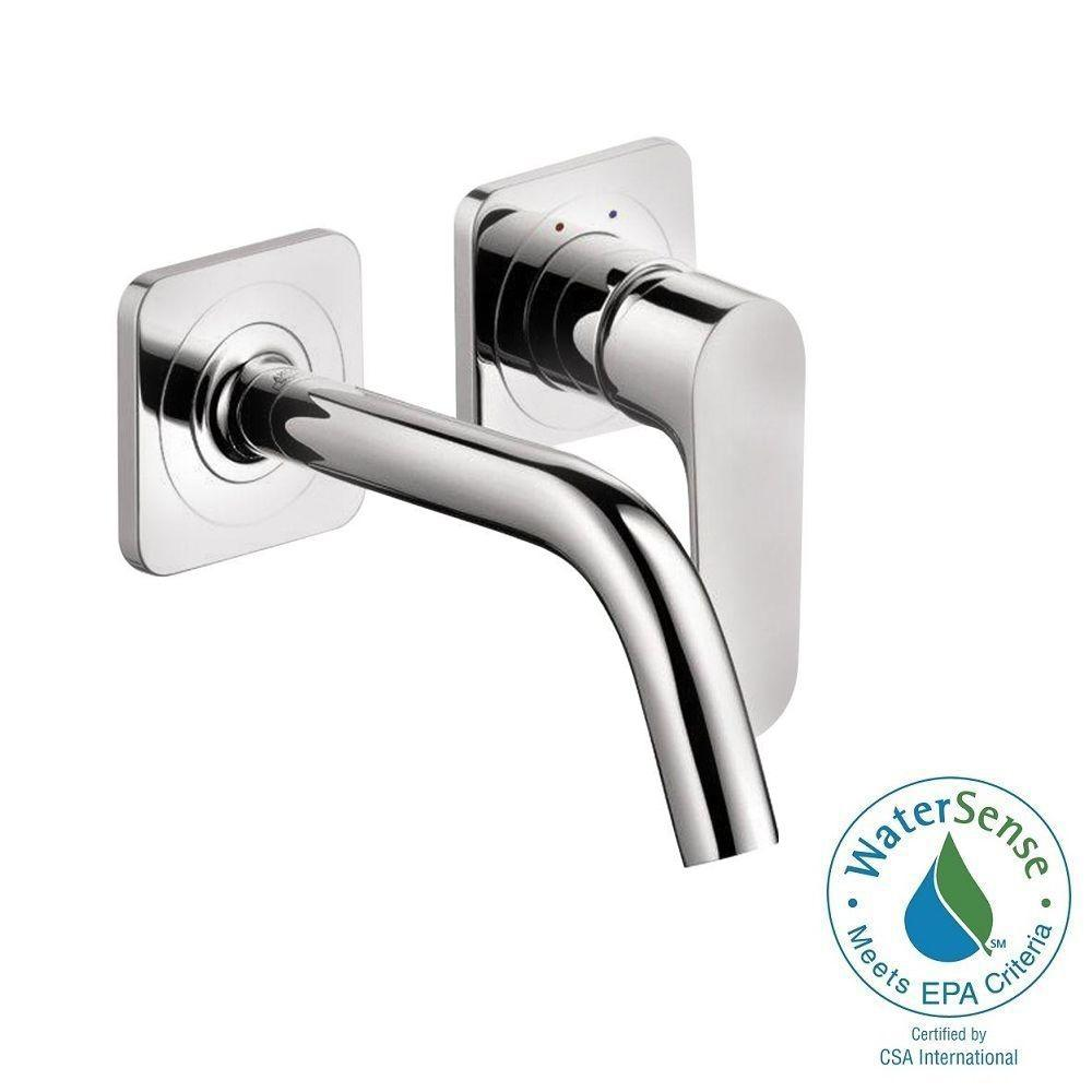 Hansgrohe Citterio M Single-Handle Wall Mount Bathroom Faucet with Low-Arc in Chrome