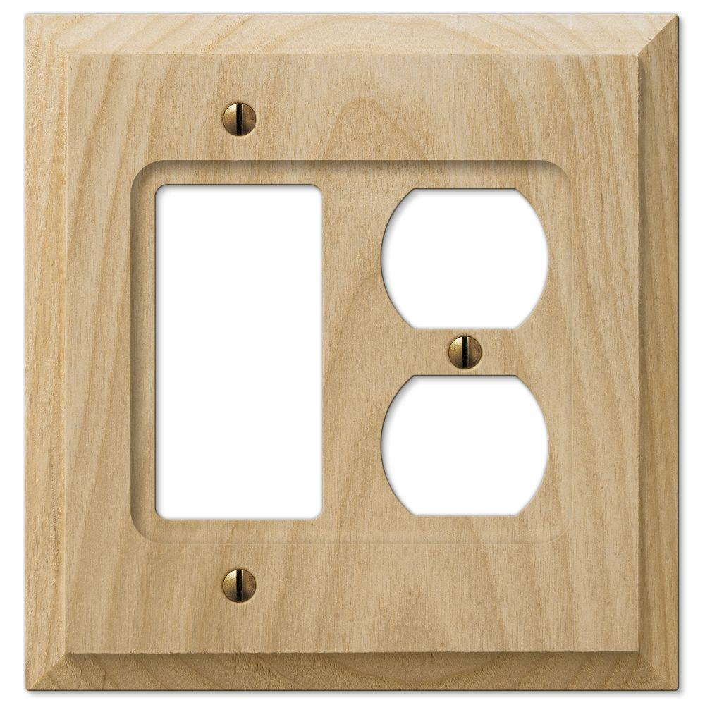 Hampton Bay 1 Rocker Duplex Wall Plate Un Finsished Wood